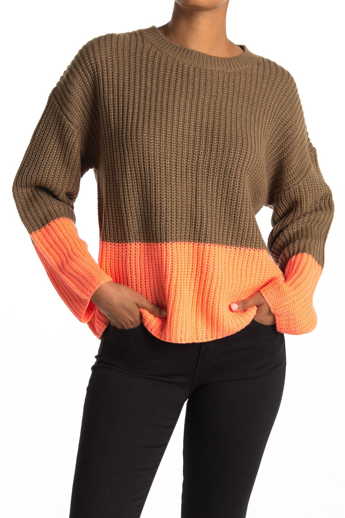 Image of Lush Colorblock Print Knit Sweater
