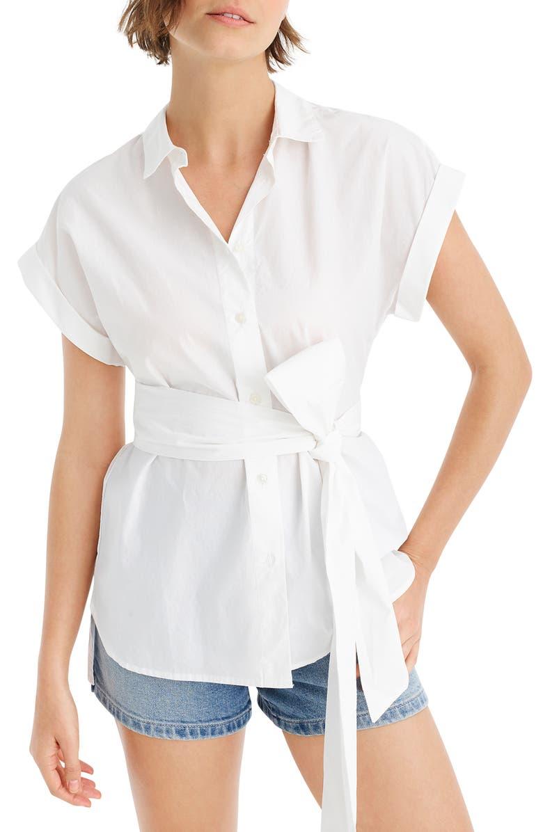 J.CREW Button Front Tie Waist Cotton Poplin Top, Main, color, 100