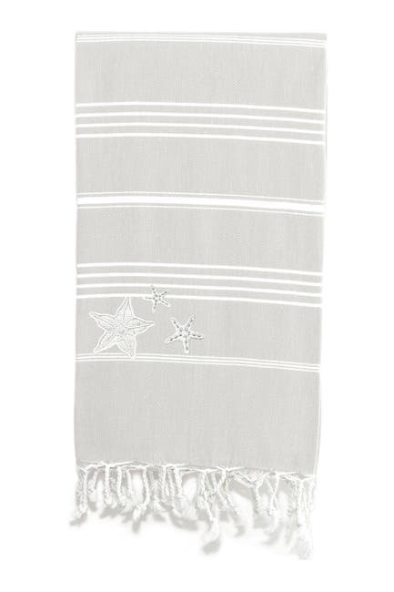 Image of LINUM HOME 100% Turkish Cotton Lucky - Glittery Starfish Pestemal Beach Towel - Grey