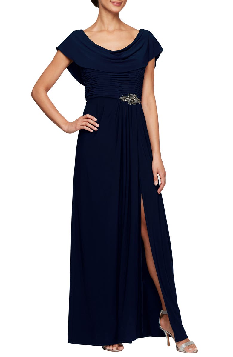 ALEX EVENINGS Cowl Neck Beaded Waist Gown, Main, color, 410