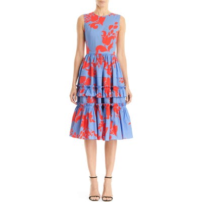 Carolina Herrera Floral Print Sleeveless A-Line Dress, Blue