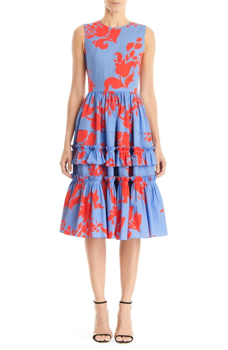 CAROLINA HERRERA Floral Print Sleeveless A-Line Dress, Main, color, 400