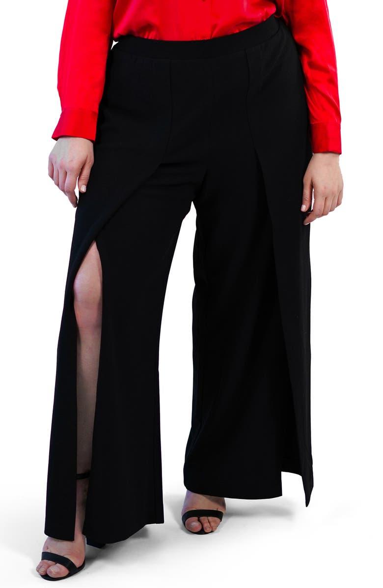 MARÉE POUR TOI Slit Front Wide Leg Pants, Main, color, BLACK