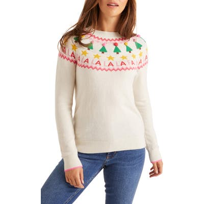 Boden Festive Fair Isle Wool, Cotton & Alpaca Blend Sweater, Ivory