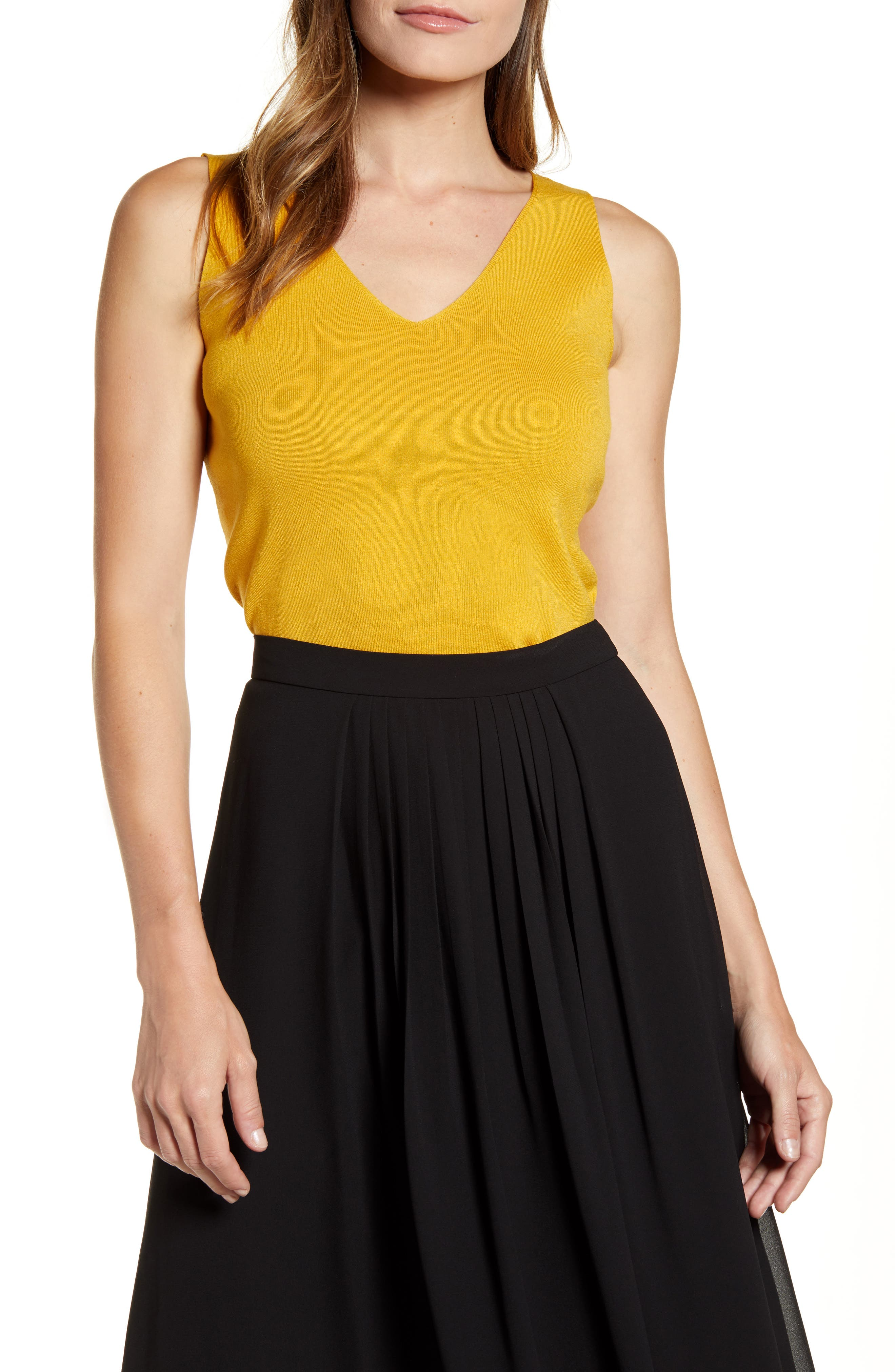Image of Anne Klein Double V-Neck Knit Tank