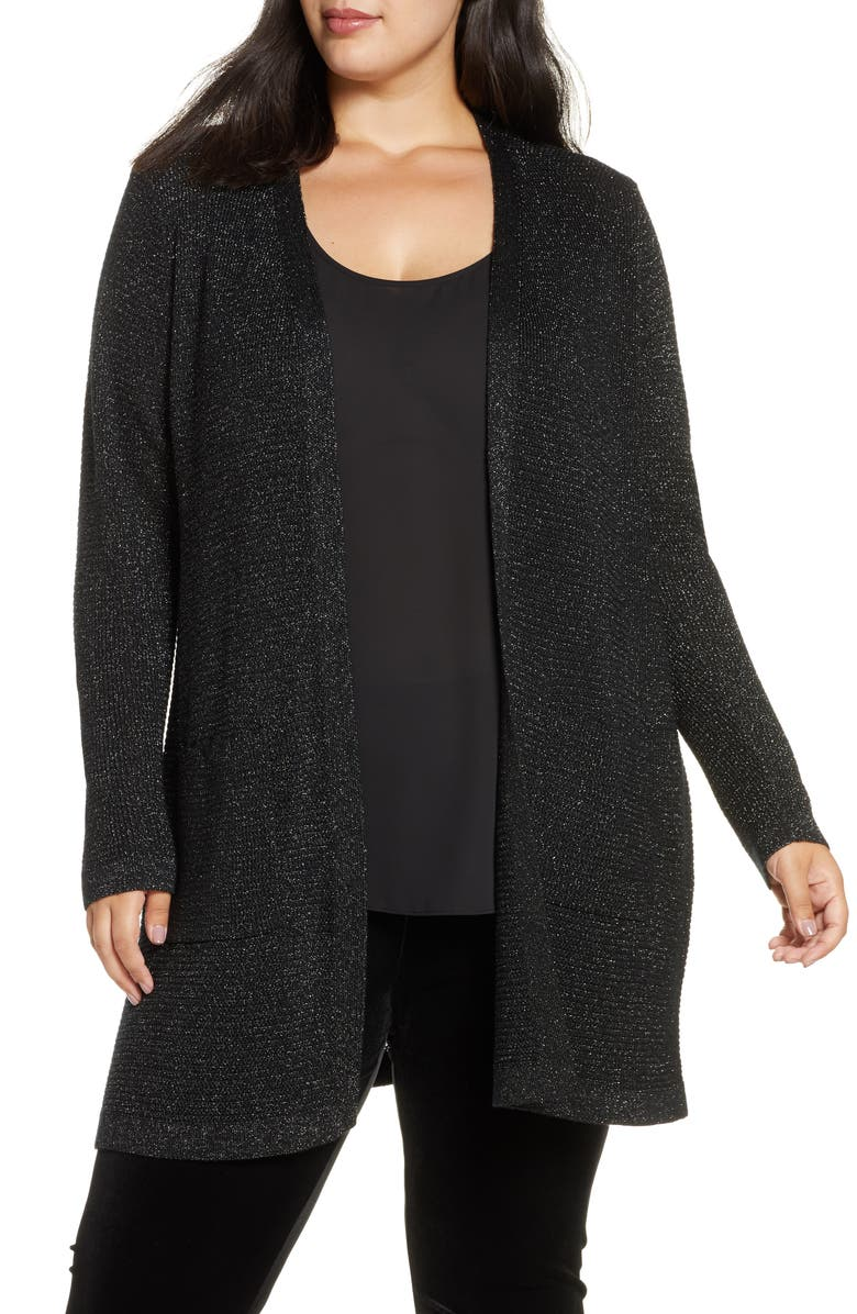 EILEEN FISHER Shimmer Merino Wool Blend Straight Long Cardigan, Main, color, BLACK
