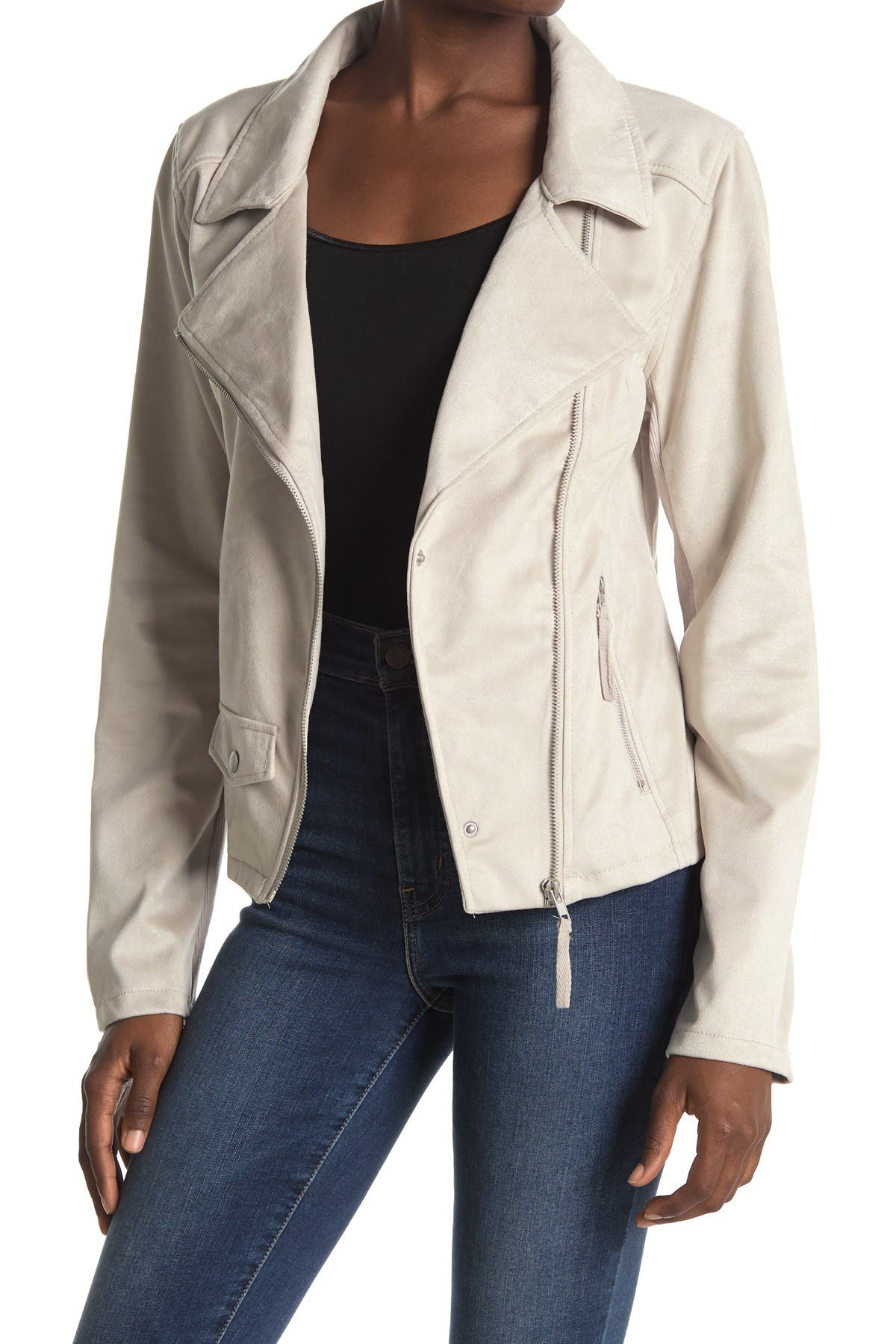THREAD AND SUPPLY Faux Suede Moto Jacket
