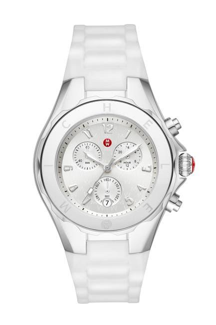Image of Michele Women's White Tahitan Jelly Bean Watch, 40 MM