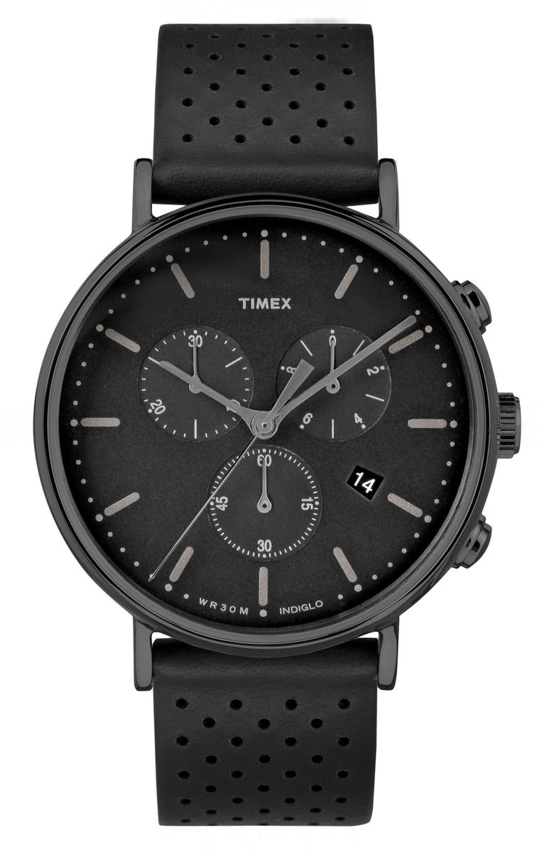 TIMEX<SUP>®</SUP> Fairfield Chronograph Leather Strap Watch, 41mm, Main, color, 004