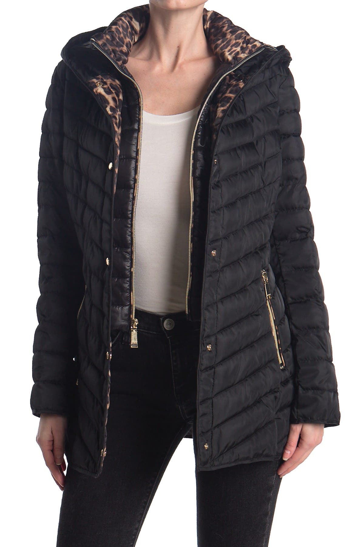 Image of Nine West Mid Weight Puffer Coat with Removable Bib