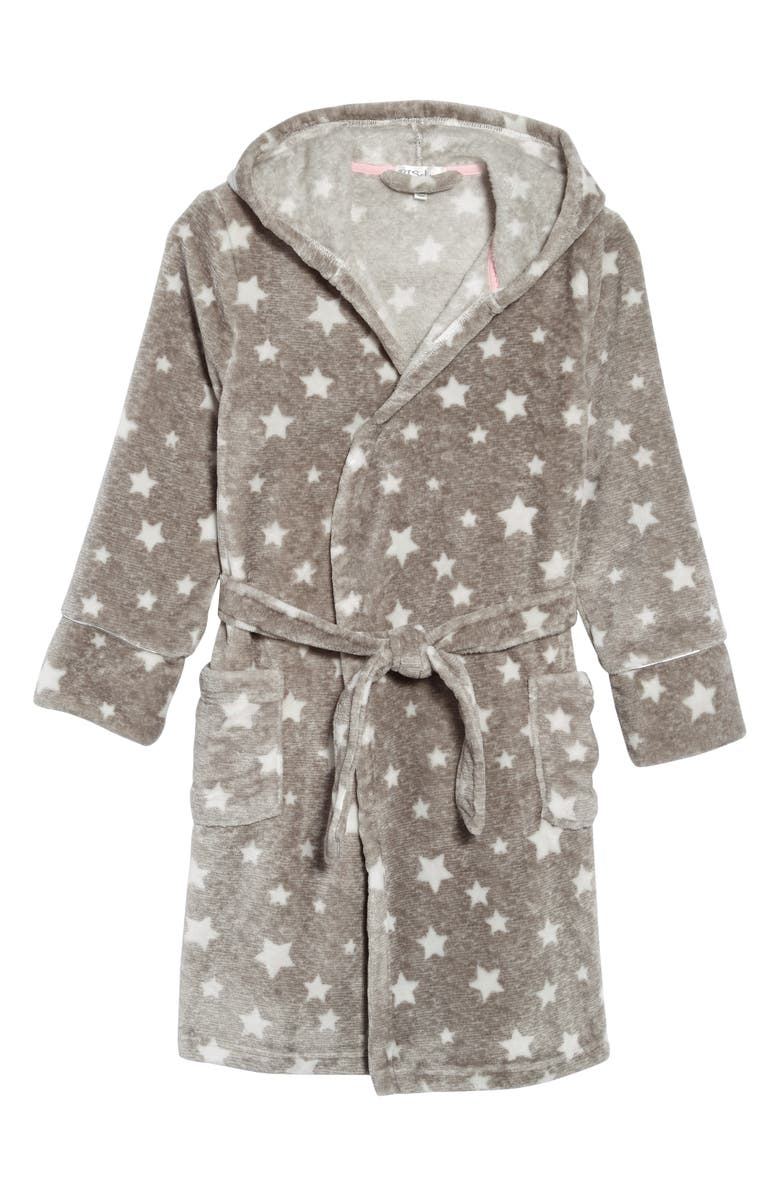 PJ SALVAGE Star Print Hooded Robe, Main, color, H GREY