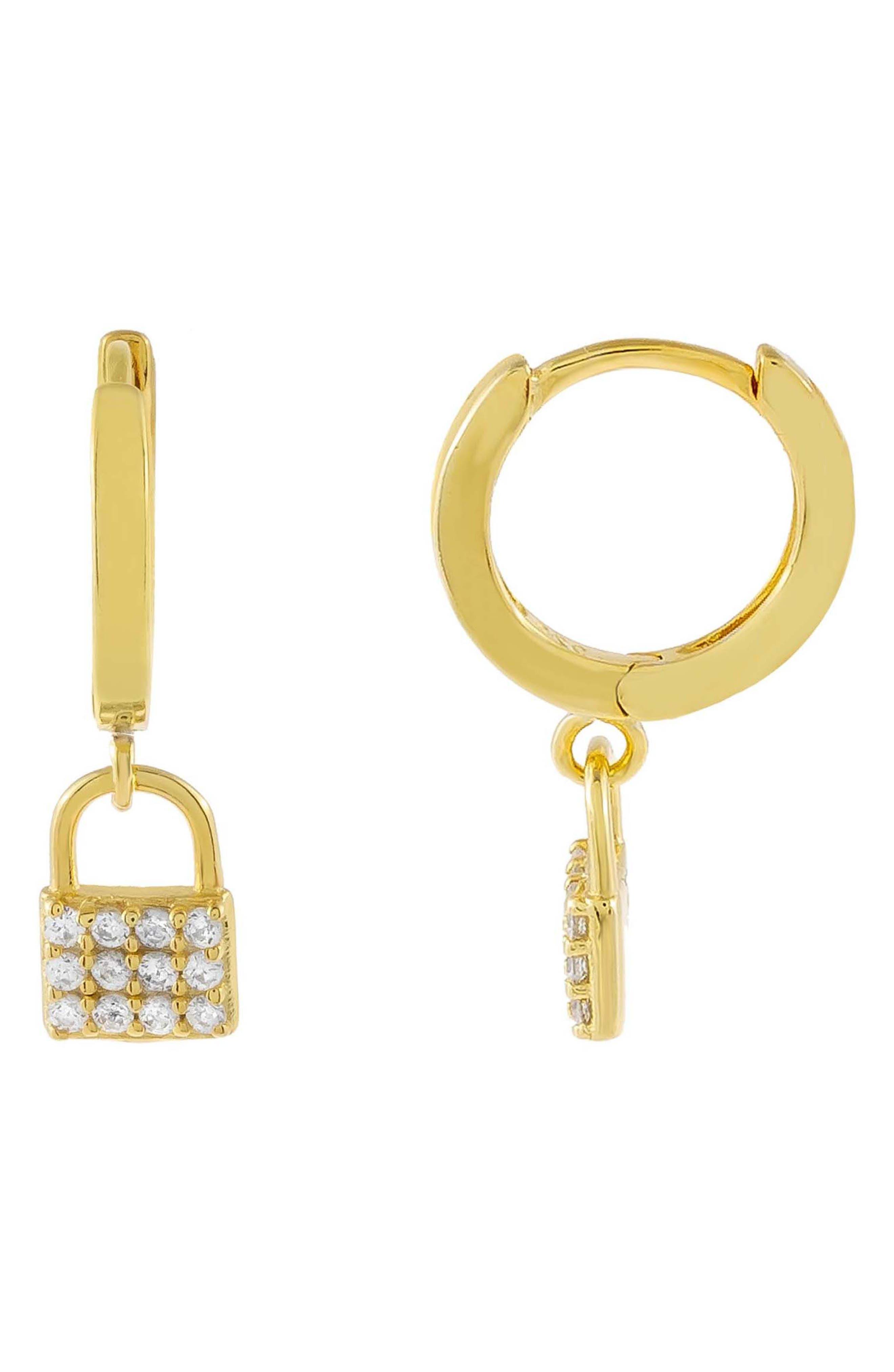 Women's Adina's Jewels Pave Mini Lock Huggie Hoop Earrings