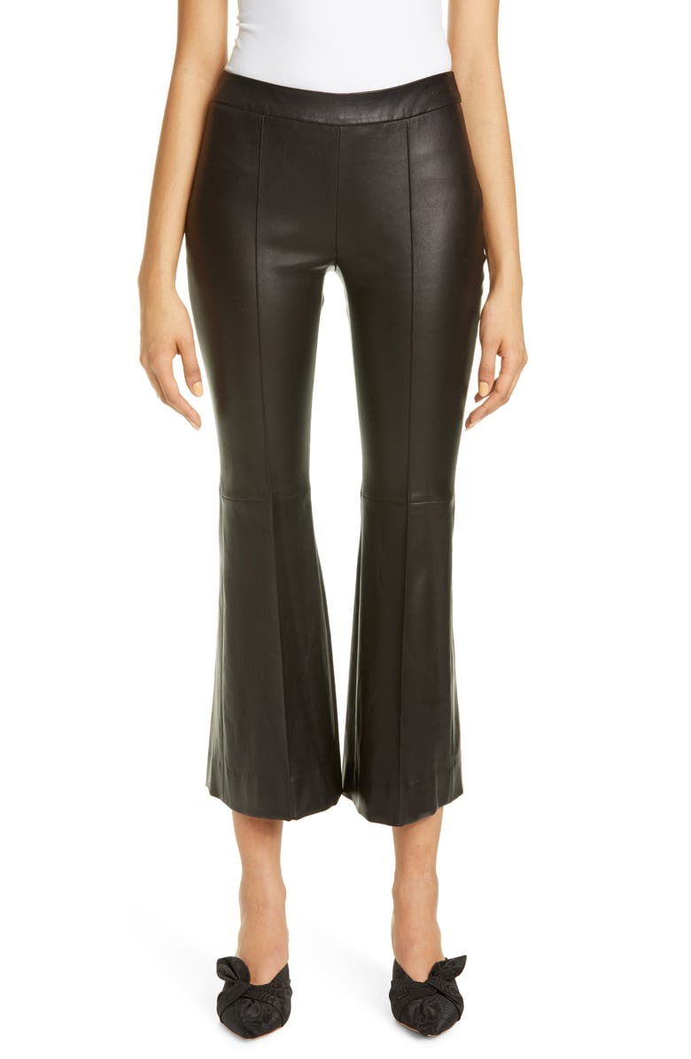 ROSETTA GETTY Pull-On Lambskin Leather Crop Flare Pants, Main, color, 001