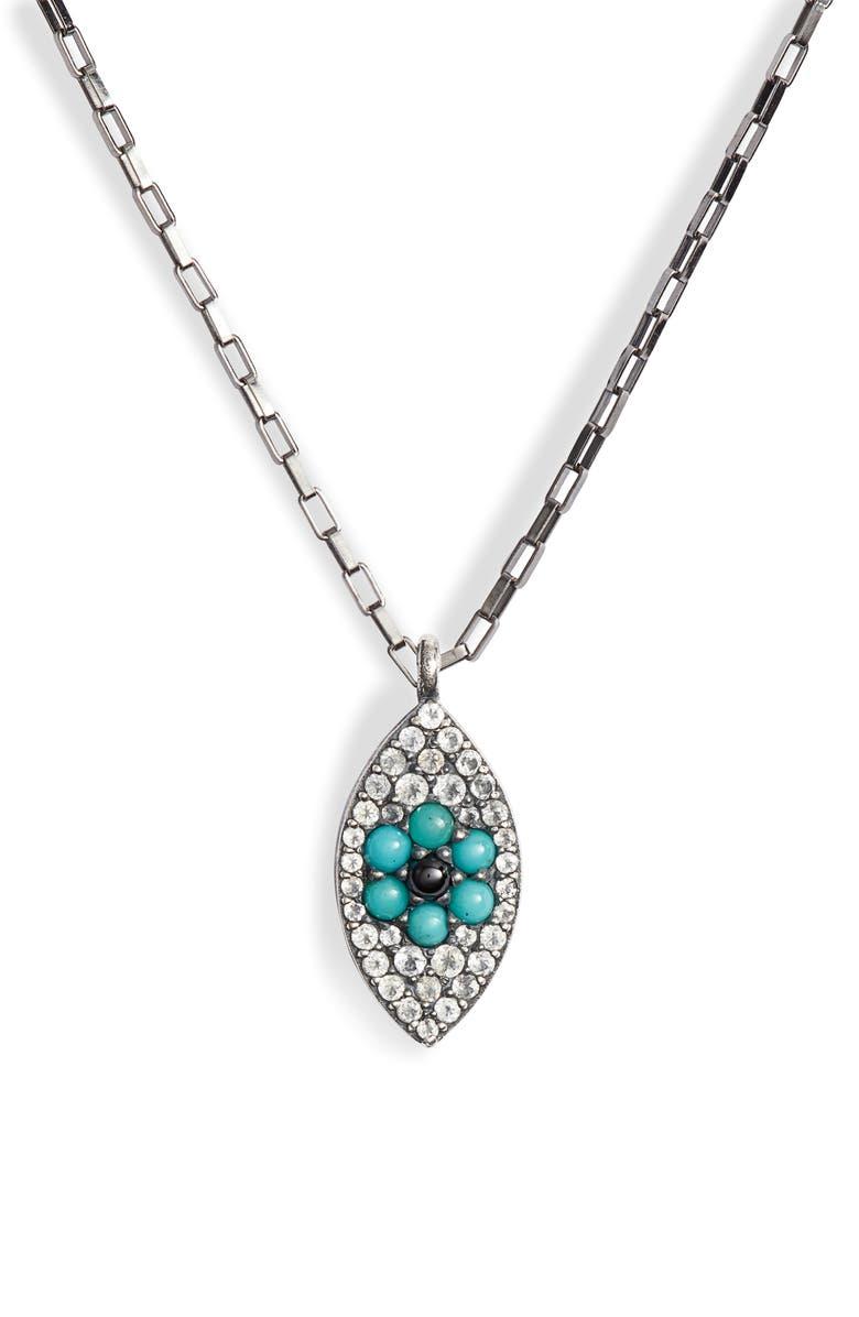 ELA RAE Pavé Evil Eye Pendant Necklace, Main, color, 001