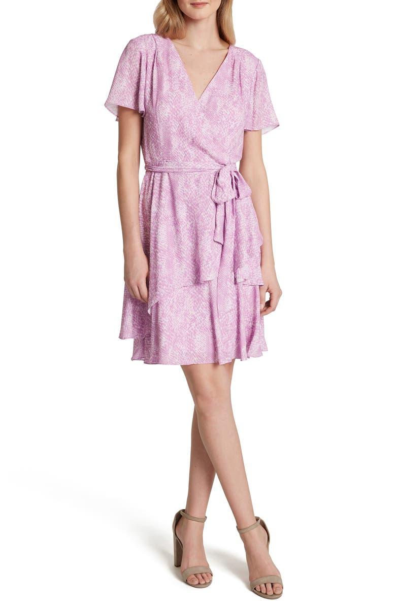 TAHARI Snakeskin Print Chiffon Faux Wrap Dress, Main, color, PINK SNAKE