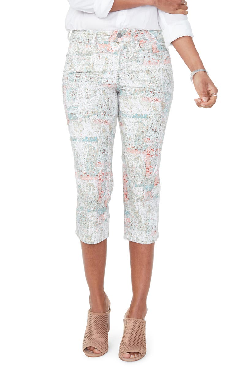 NYDJ Marilyn Crop Slim Jeans, Main, color, PAISLEY IMPRESSION CANYON CLAY