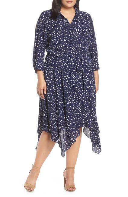 Image of Eliza J Handkerchief Hem Midi Dress