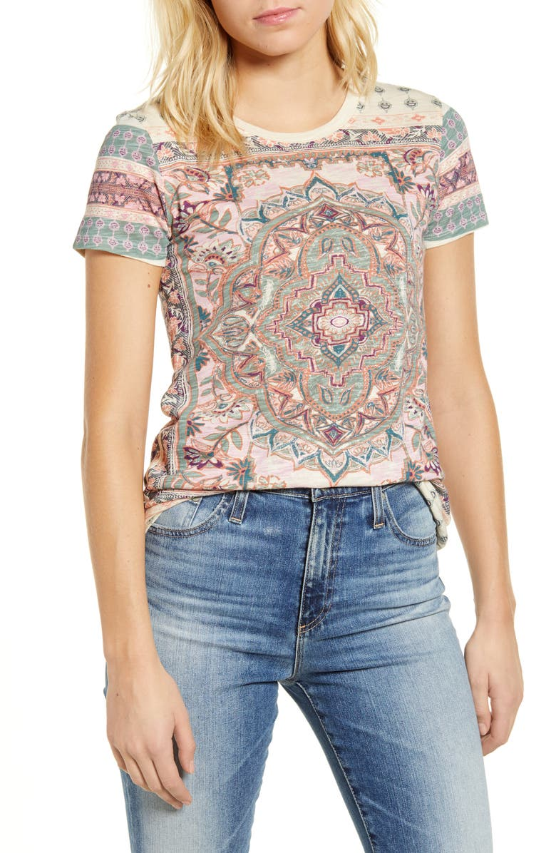 LUCKY BRAND Floral Paisley Cotton Blend T-Shirt, Main, color, 110