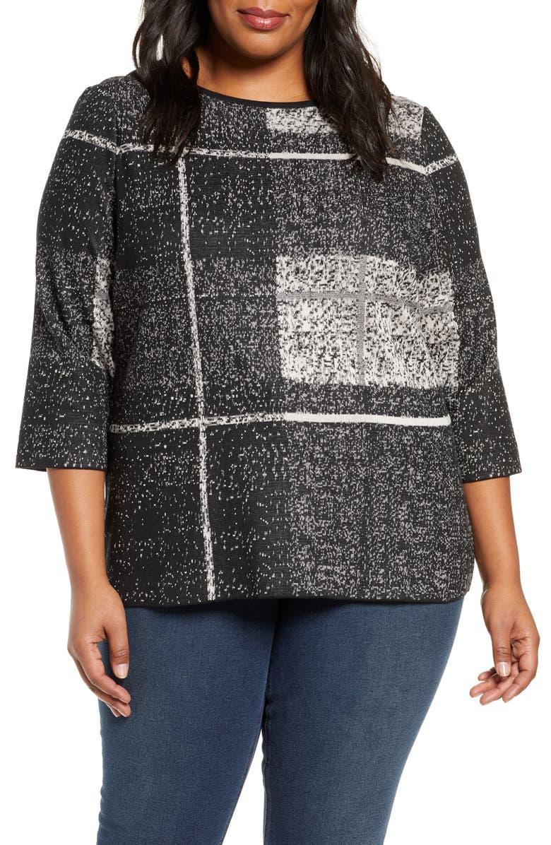 MING WANG Tunic Sweater, Main, color, BLACK/ MINERAL GREY/ SDBK