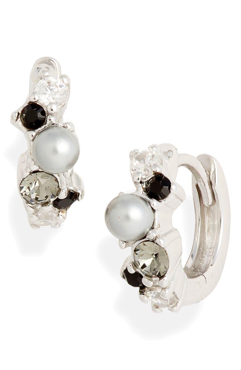 OLIVIA BURTON Swarovski Crystal Huggie Earrings, Main, color, SILVER