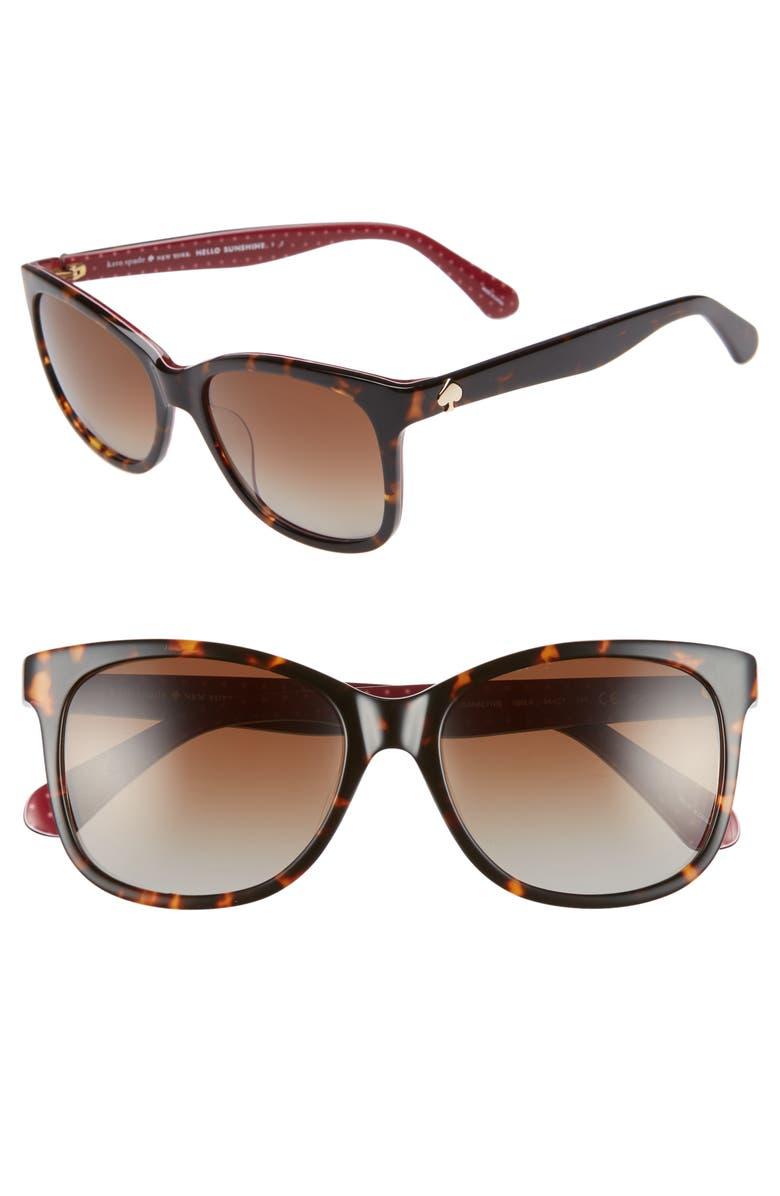 KATE SPADE NEW YORK danalyn 54mm polarized sunglasses, Main, color, DARK HAVANA POLARIZED