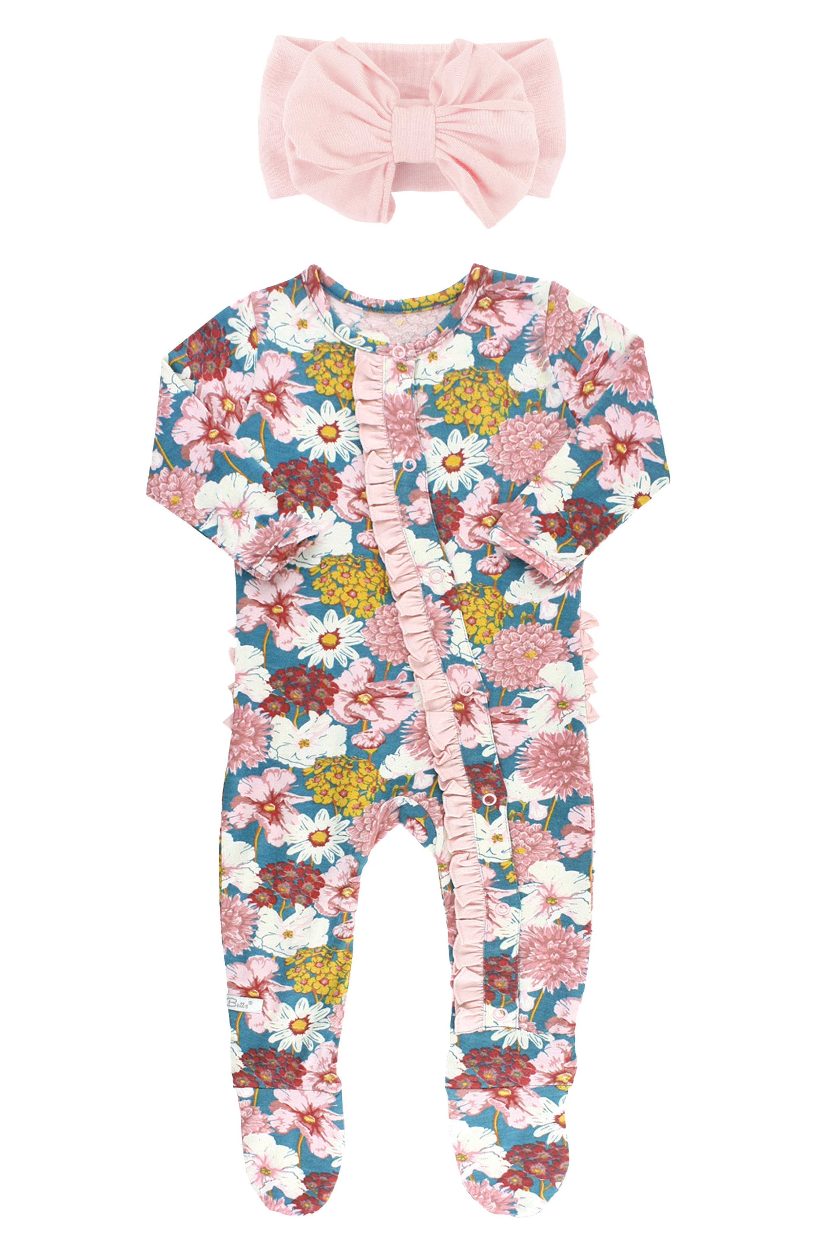 Just because the day is ending doesn\\\'t mean baby\\\'s cute style has to-enter these adorable floral-print jammies with signature ruffles across the derriere. The luxuriously soft and lightweight fabric is perfect for taking your little one from naptime to playtime in total comfort. This footed style is paired with a bowed head wrap to keep the pajama party going all day long. Style Name: Rufflebutts Radiant Stems Ruffle Fitted One-Piece Pajamas &