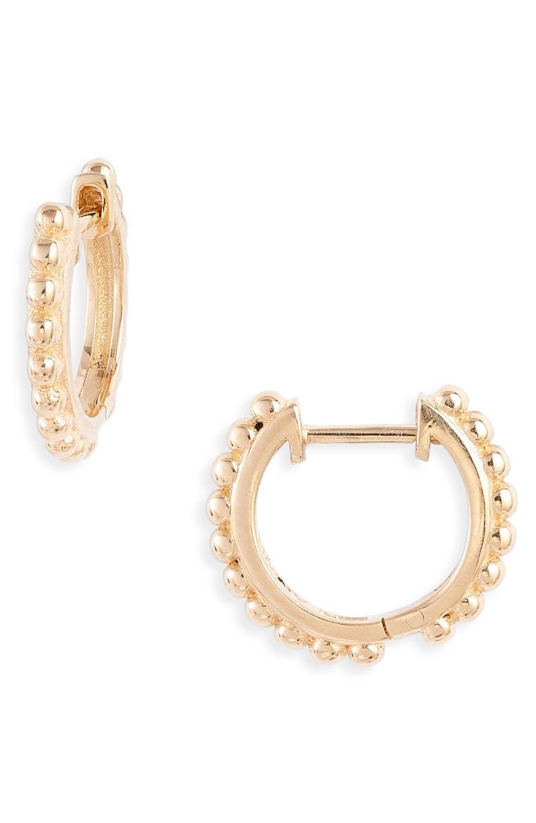 ANZIE Dew Drop Huggie Hoop Earrings, Main, color, GOLD