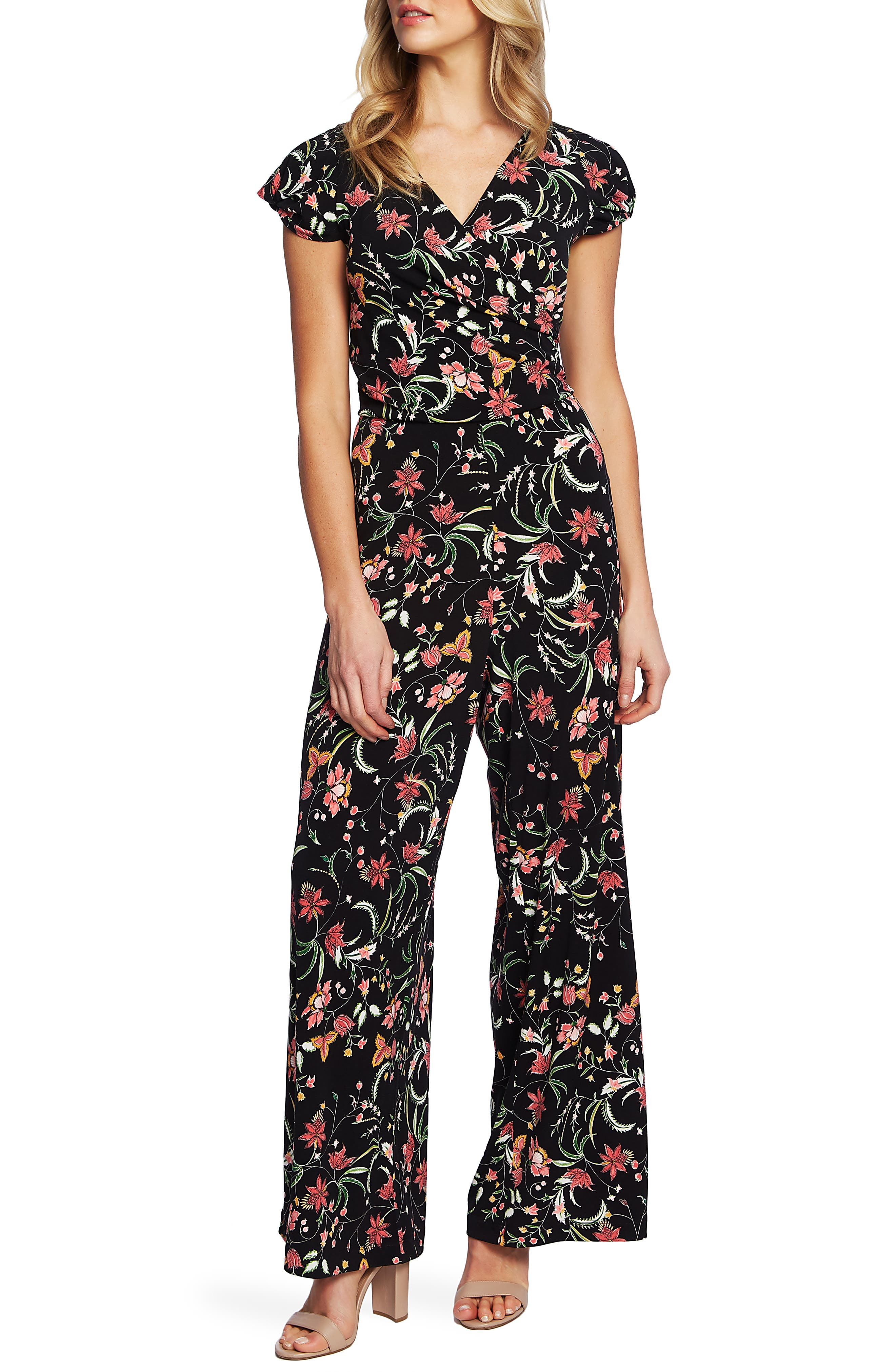 Image of CeCe by Cynthia Steffe Marrakesh Ink Floral Print Jumpsuit