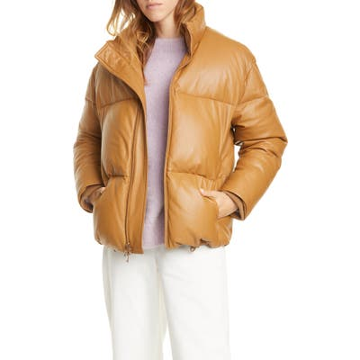 Vince Down Leather Puffer Jacket, Brown