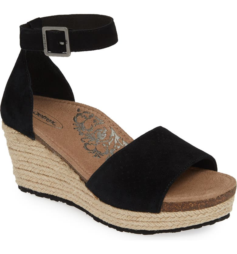 AETREX Miley Espadrille Sandal, Main, color, BLACK SUEDE