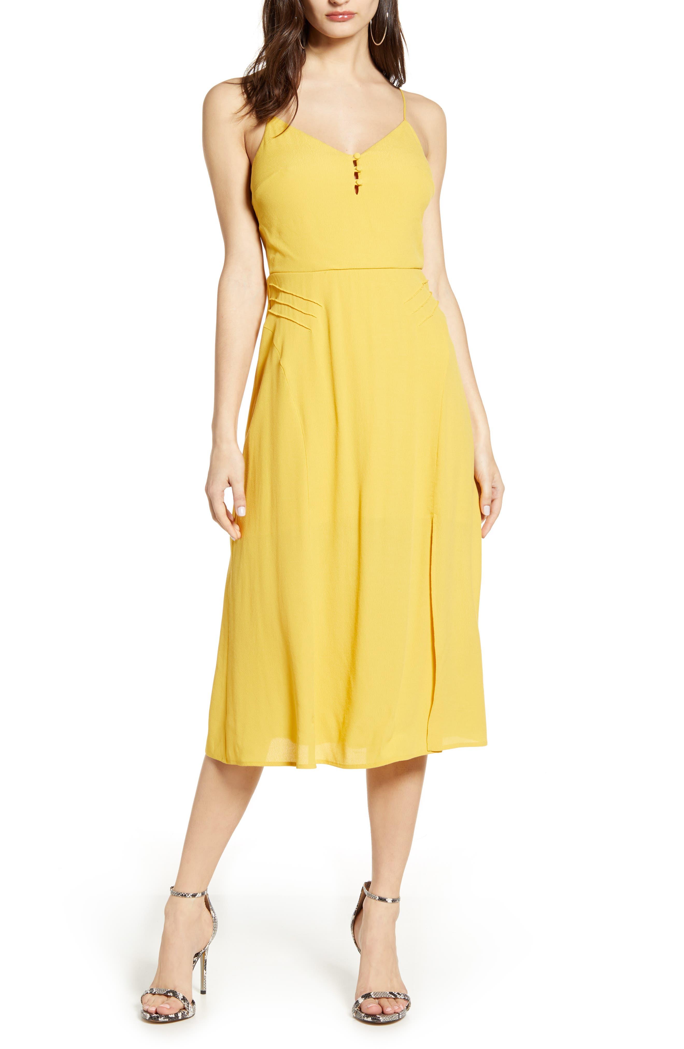 Row A Slit Midi Sundress, Yellow