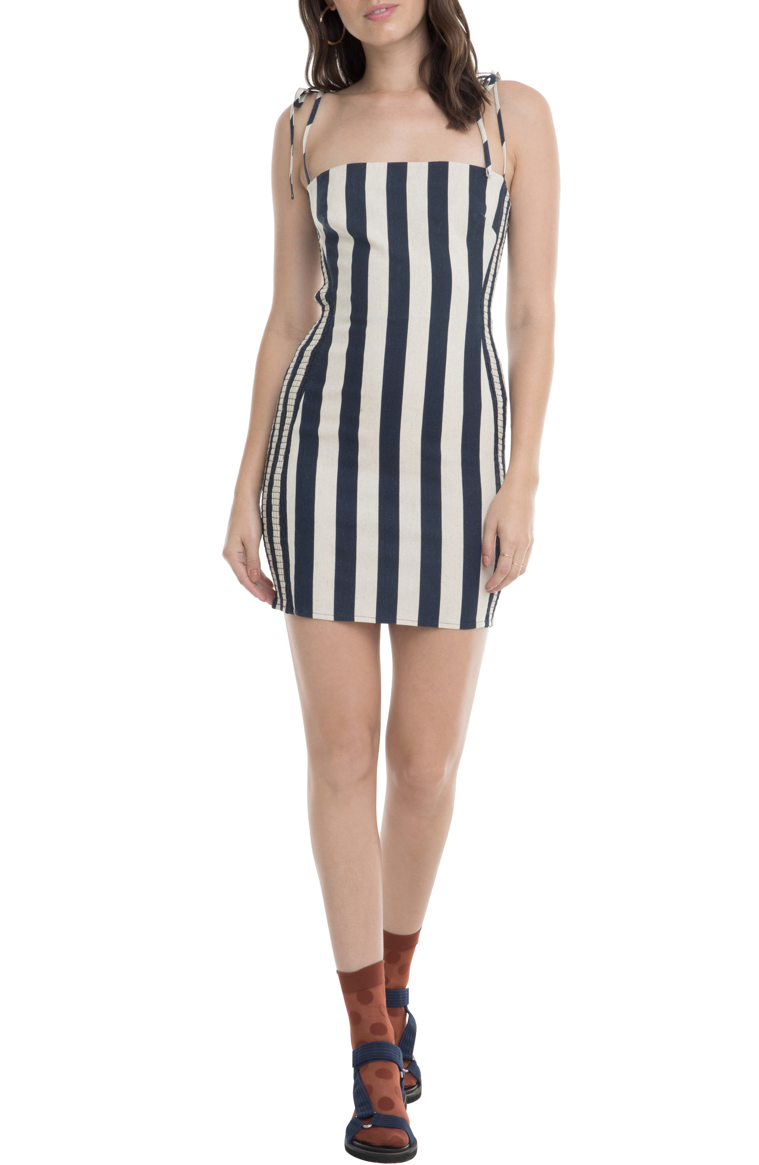 Astr The Label Lena Stripe Linen Blend Minidress, Blue