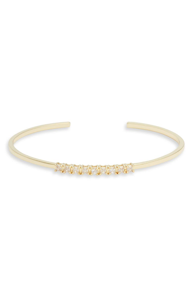NORDSTROM Cubic Zirconia Stacking Cuff, Main, color, CLEAR- GOLD