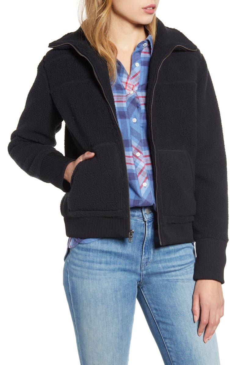 VINEYARD VINES Curly Pile Fleece Bomber Jacket, Main, color, JET BLACK