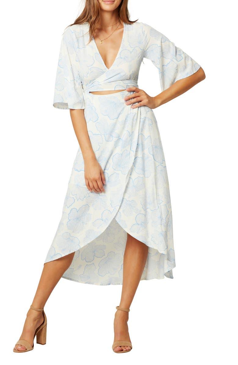 L SPACE Kellen Faux Wrap Cover-Up Dress, Main, color, HIBISCUS