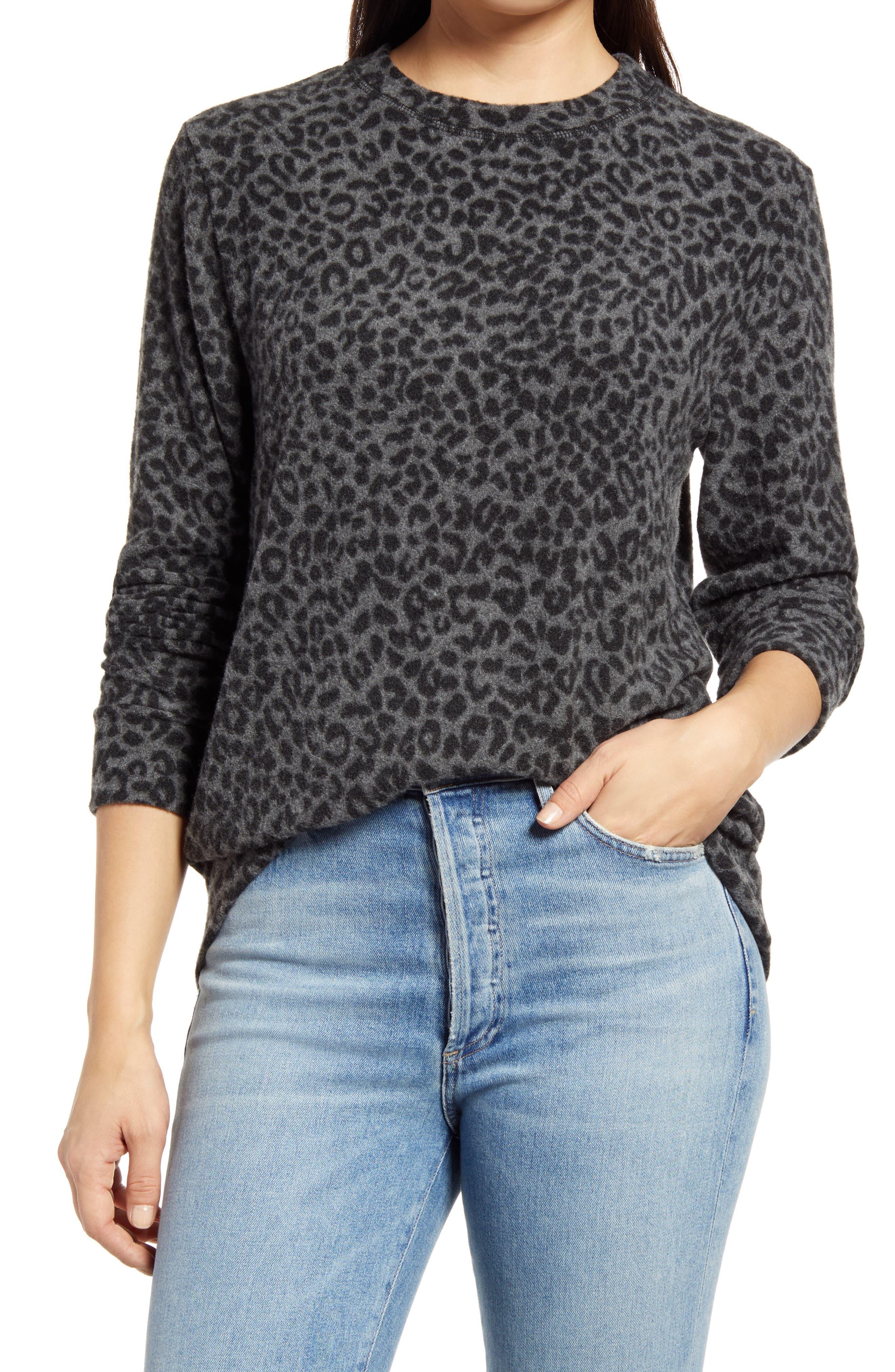 Women's Loveapella Brushed Leopard Print Long Sleeve Crewneck Top
