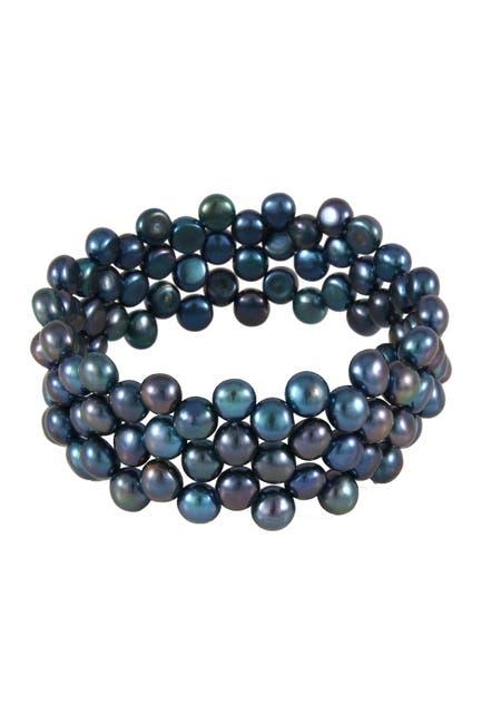 Image of Splendid Pearls 7-8mm Triple Row Dyed Black Freshwater Pearl Bracelet