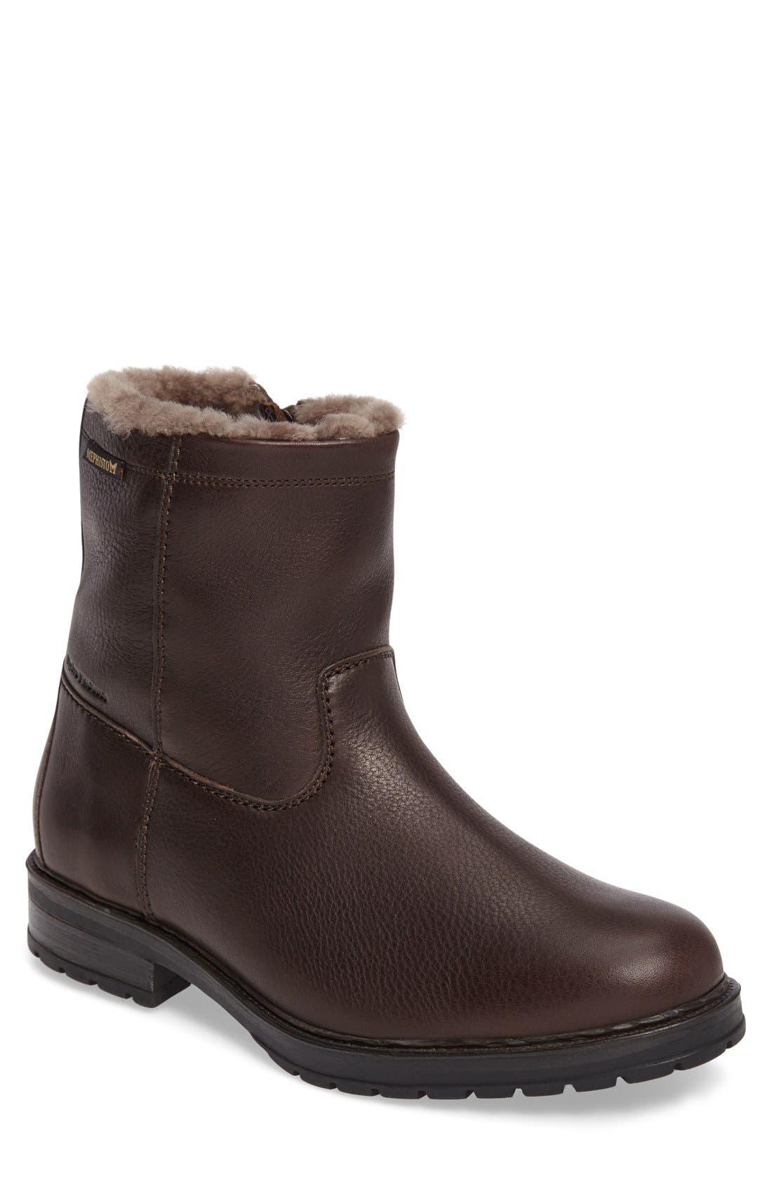 Leonardo Genuine Shearling Lined Boot, Main, color, DARK BROWN MONTANA