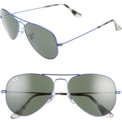Ray-Ban Small Original 55Mm Aviator Sunglasses - Blue/ Green Solid