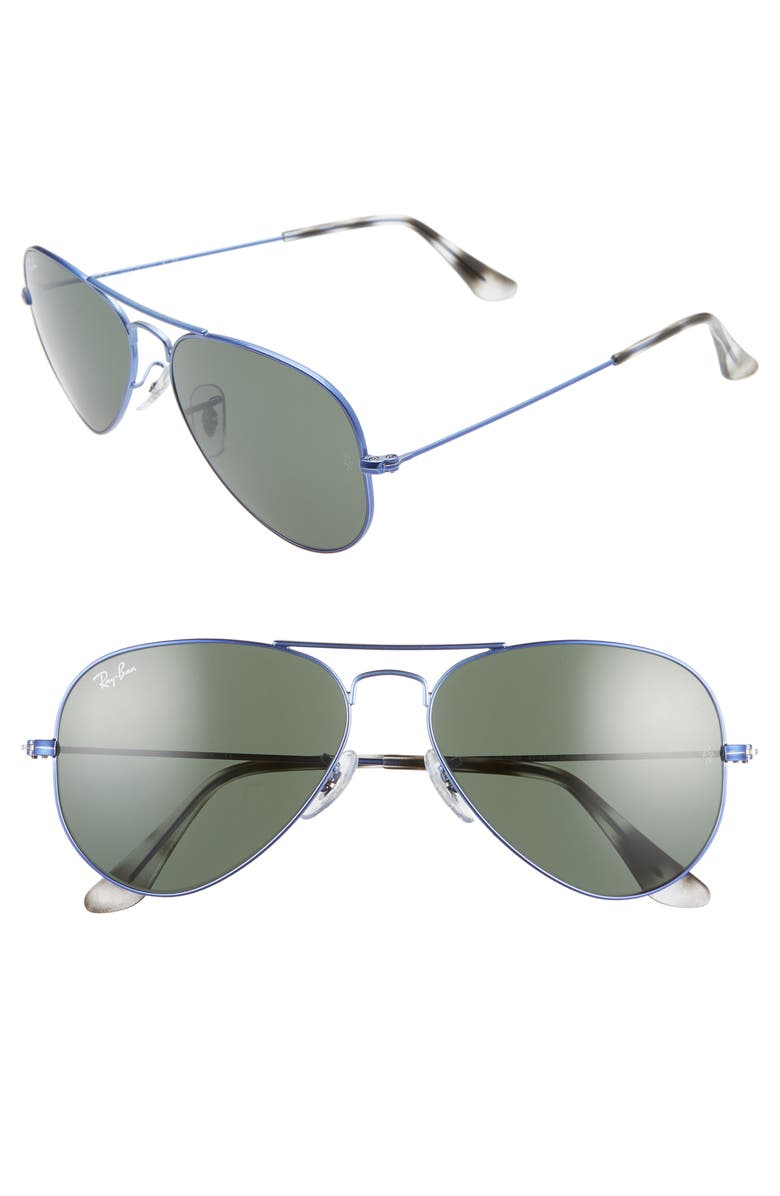 RAY-BAN Small Original 55mm Aviator Sunglasses, Main, color, BLUE/ GREEN SOLID