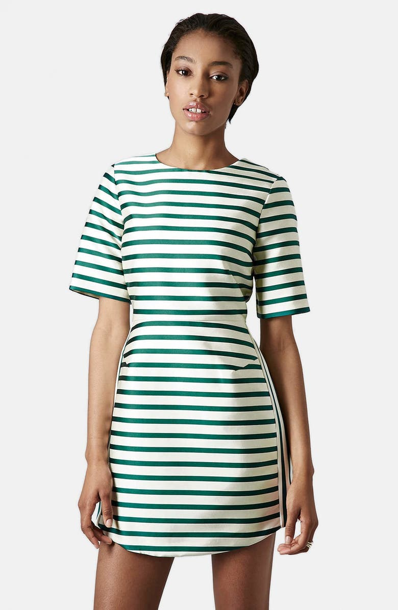 TOPSHOP Stripe Satin Dress, Main, color, 301