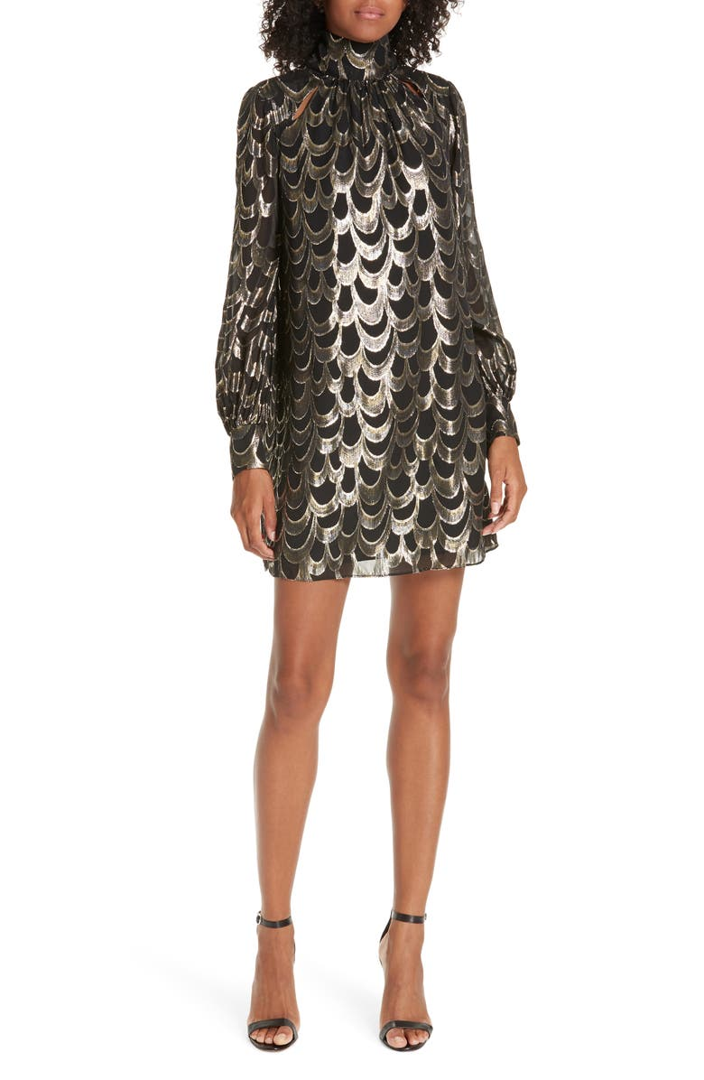 MILLY Metallic & Silk Mini Dress, Main, color, 001