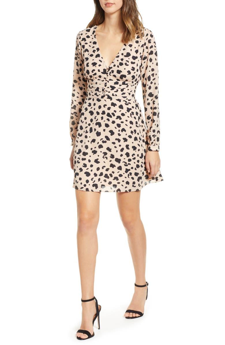 SOCIALITE Print Button Dress, Main, color, 001