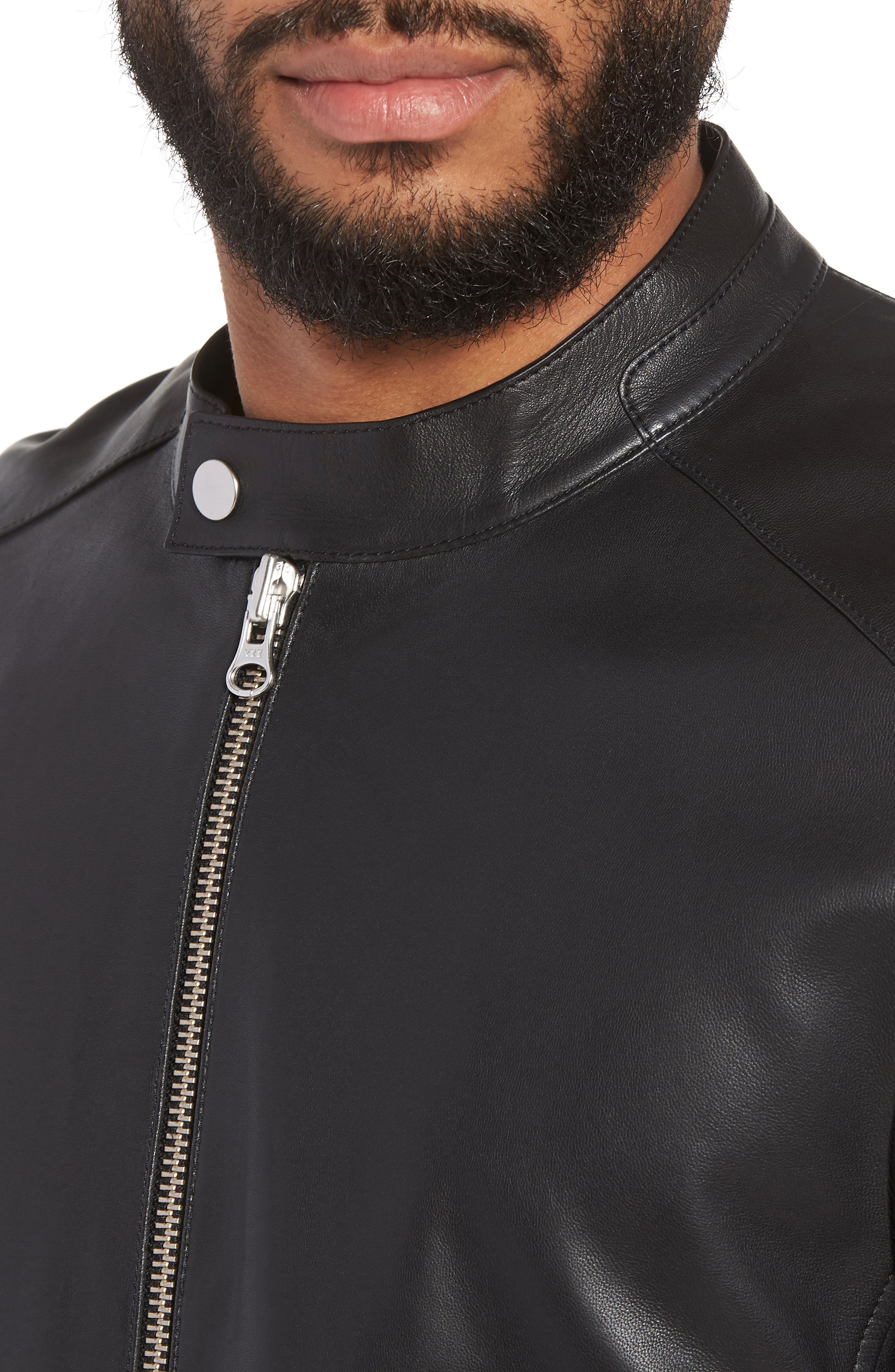 ,                             Leather Moto Jacket,                             Alternate thumbnail 5, color,                             001