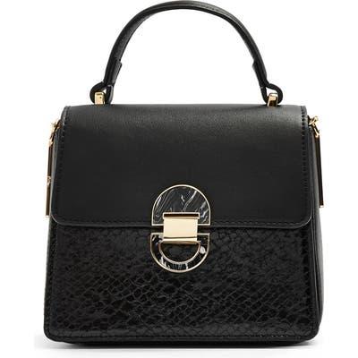 Topshop Mini Celia Faux Leather Crossbody Bag - Black