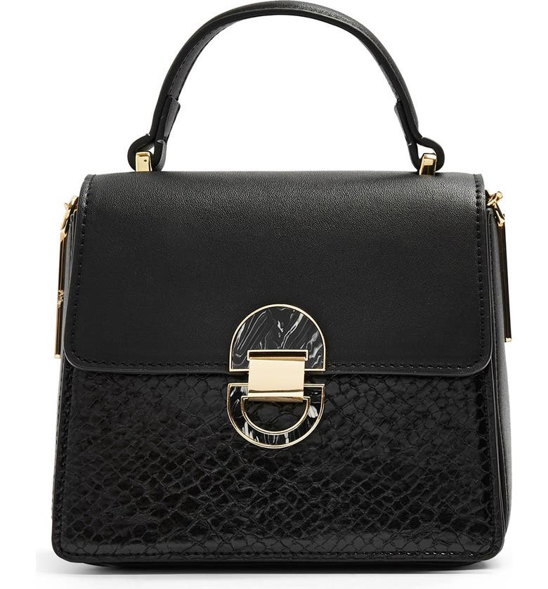 TOPSHOP Mini Celia Faux Leather Crossbody Bag, Main, color, BLACK