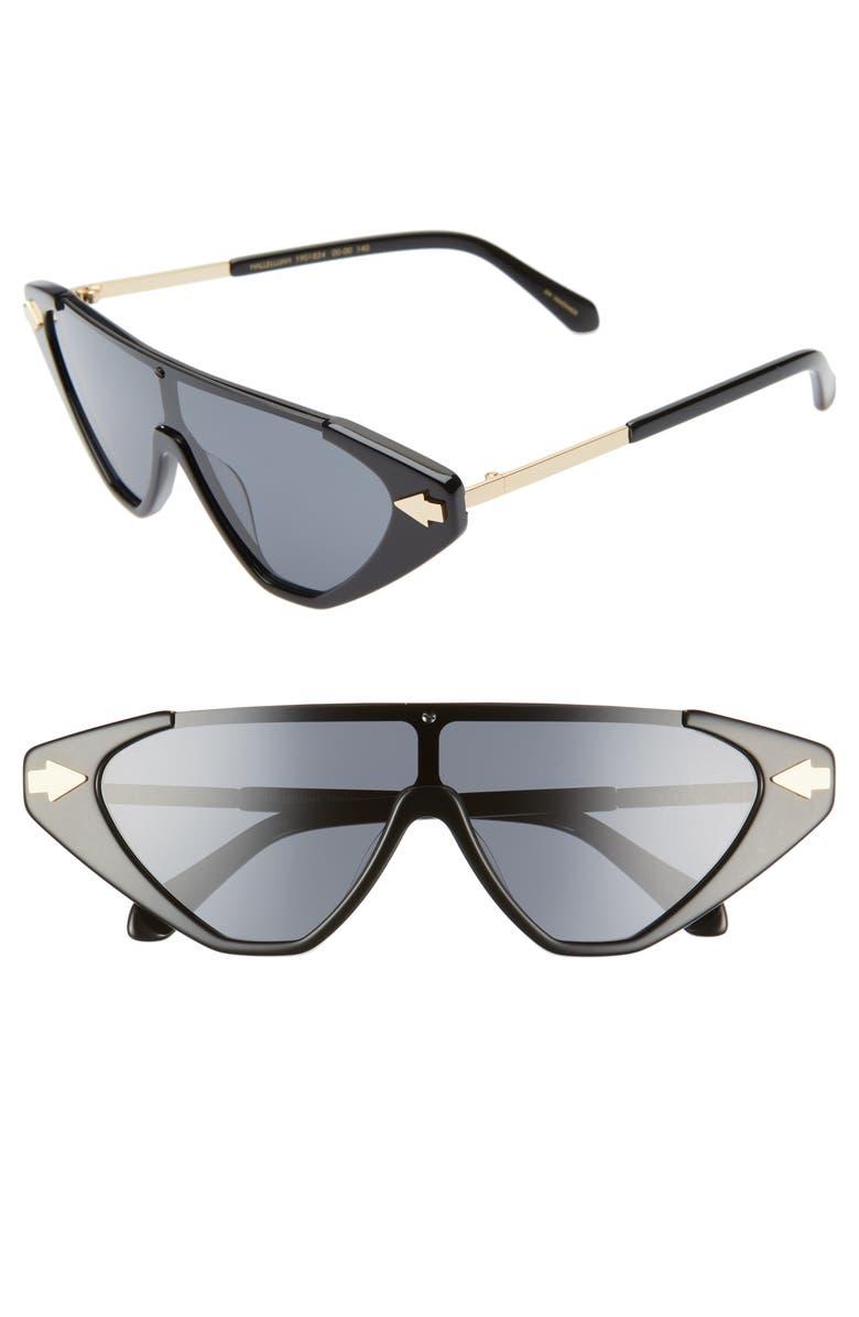 KAREN WALKER Hallelujah 125mm Shield Sunglasses, Main, color, BLACK/ SMOKE
