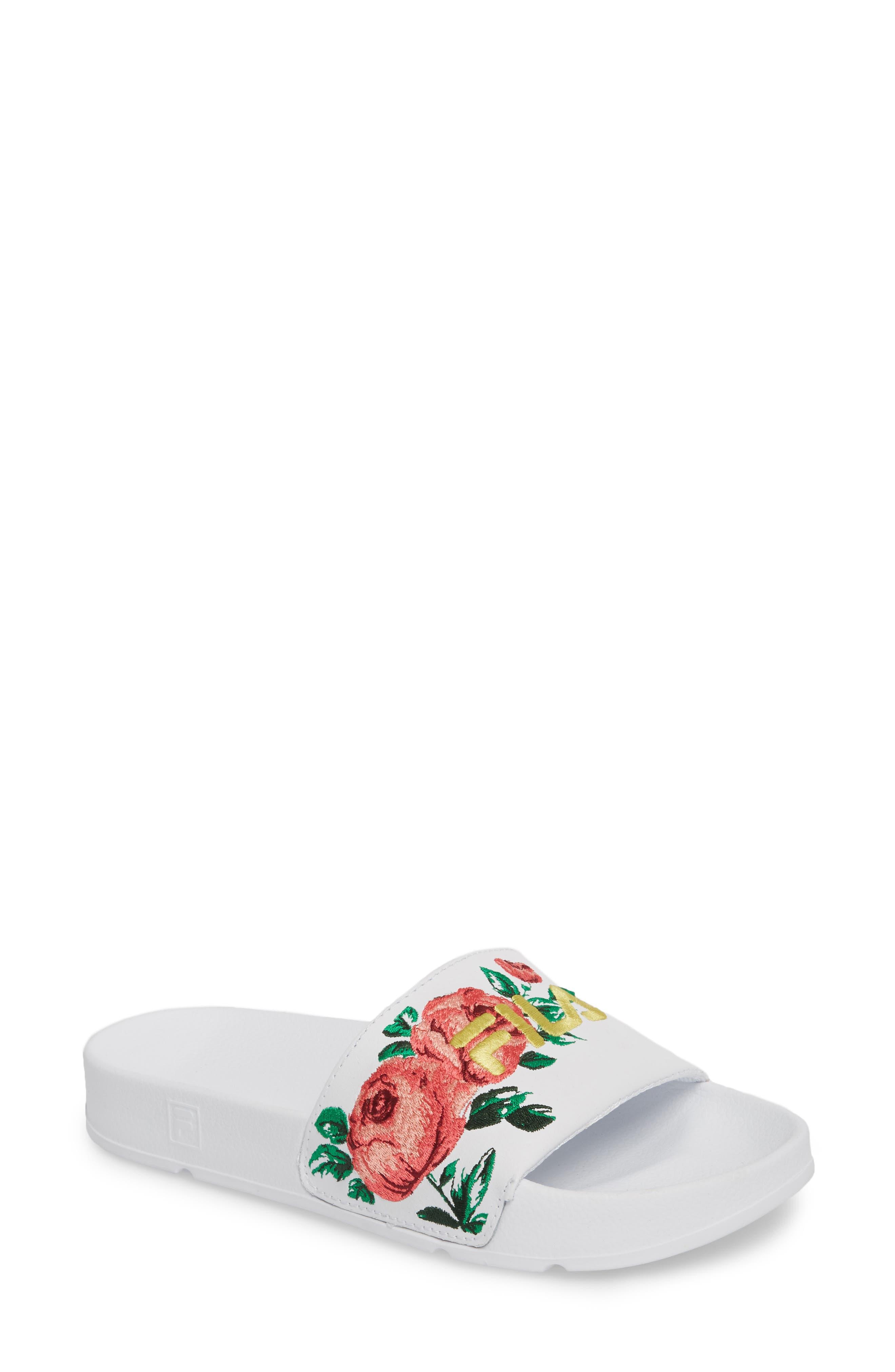 ,                             Embroidered Slide Sandal,                             Main thumbnail 1, color,                             145