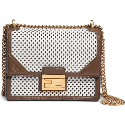Fendi Kan U Perforated Leather Crossbody Bag - White