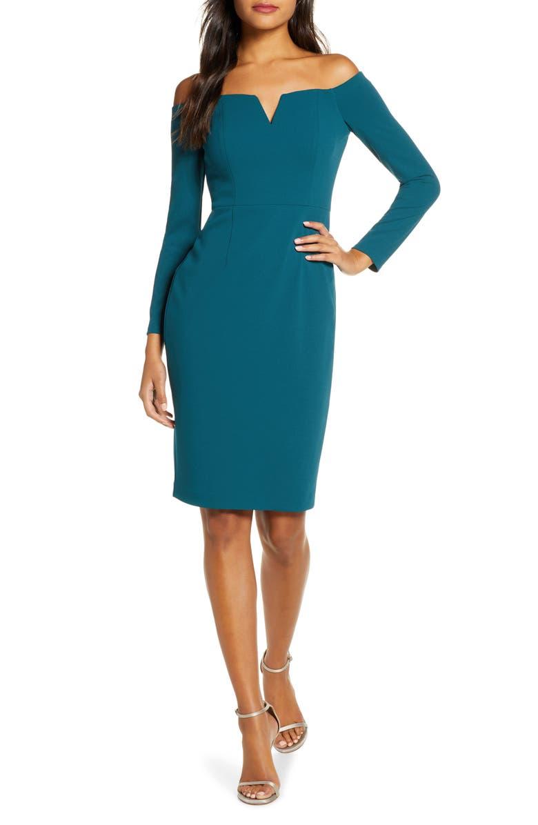 VINCE CAMUTO Off the Shoulder Long Sleeve Sheath Dress, Main, color, TEAL